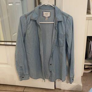 Forever 21 Denim Style Button Down Shirt Sz S